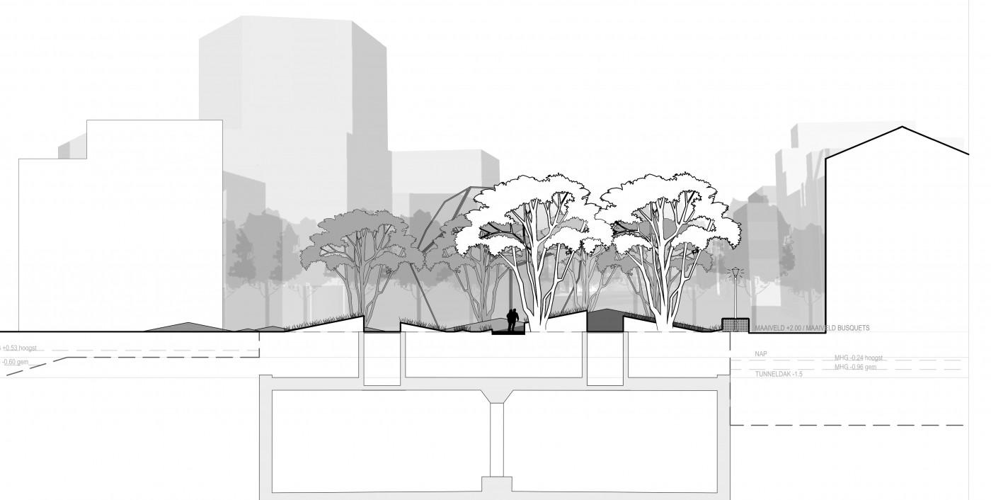 buro-sant-en-co-landschapsarchitectuur-van leeuwenhoekpark-delft-stadspark-dakpark-klimaatadaptief-ecologie-ontwerp-doorsnede-1