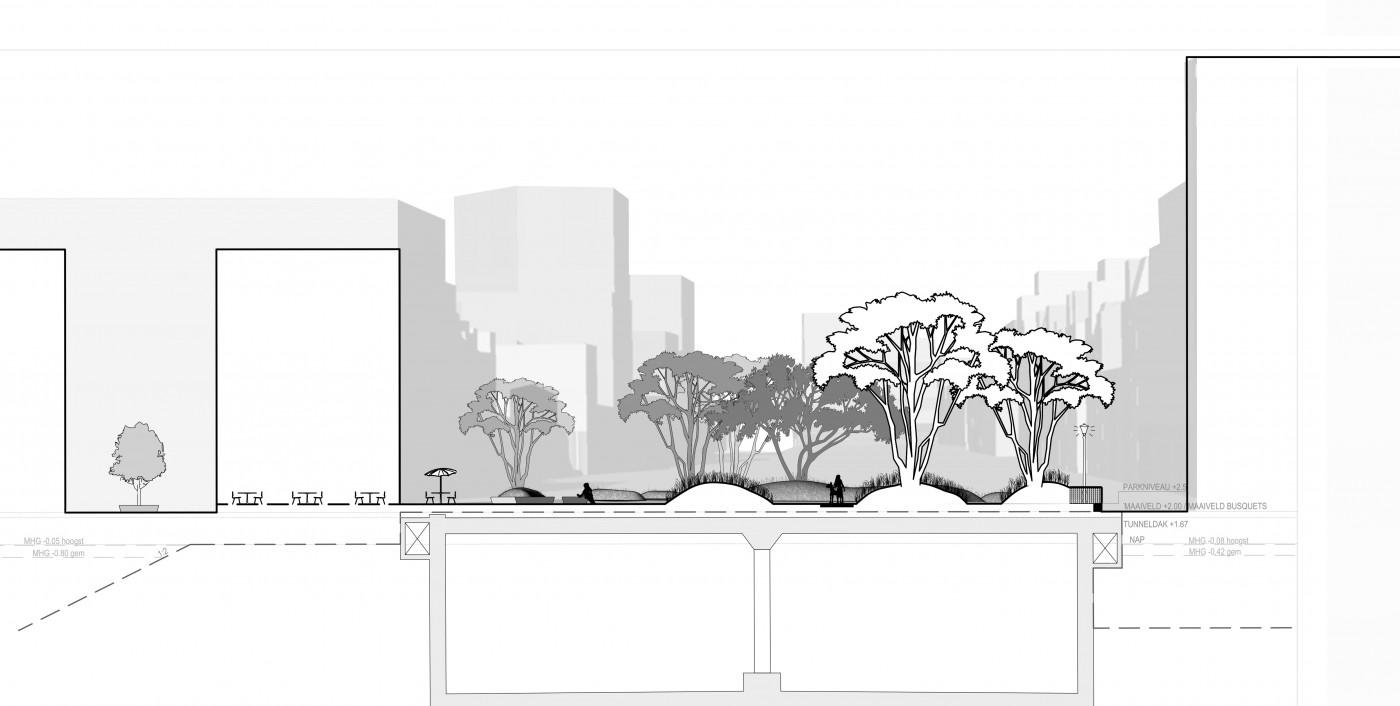buro-sant-en-co-landschapsarchitectuur-van leeuwenhoekpark-delft-stadspark-dakpark-klimaatadaptief-ecologie-ontwerp-doorsnede-2