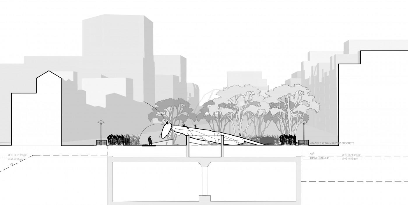 buro-sant-en-co-landschapsarchitectuur-van leeuwenhoekpark-delft-stadspark-dakpark-klimaatadaptief-ecologie-ontwerp-doorsnede