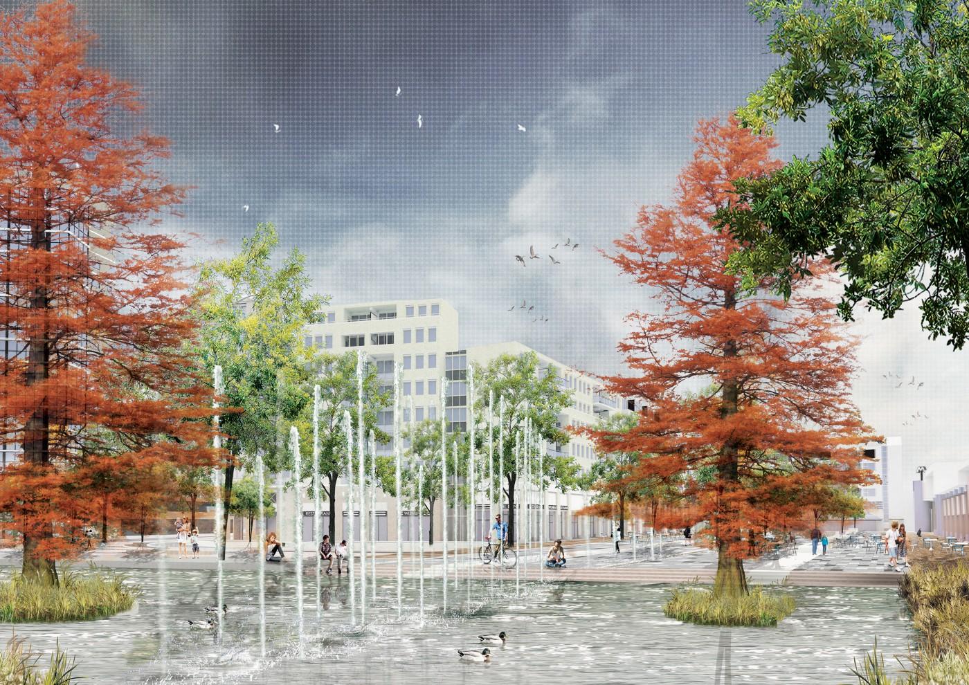 buro-sant-en-co-landschapsarchitectuur-stadsplein-capelle aan den ijssel-plein-herinrichting-groen-water-klimaatadaptief-schetsontwerp-model liniair-impressie-