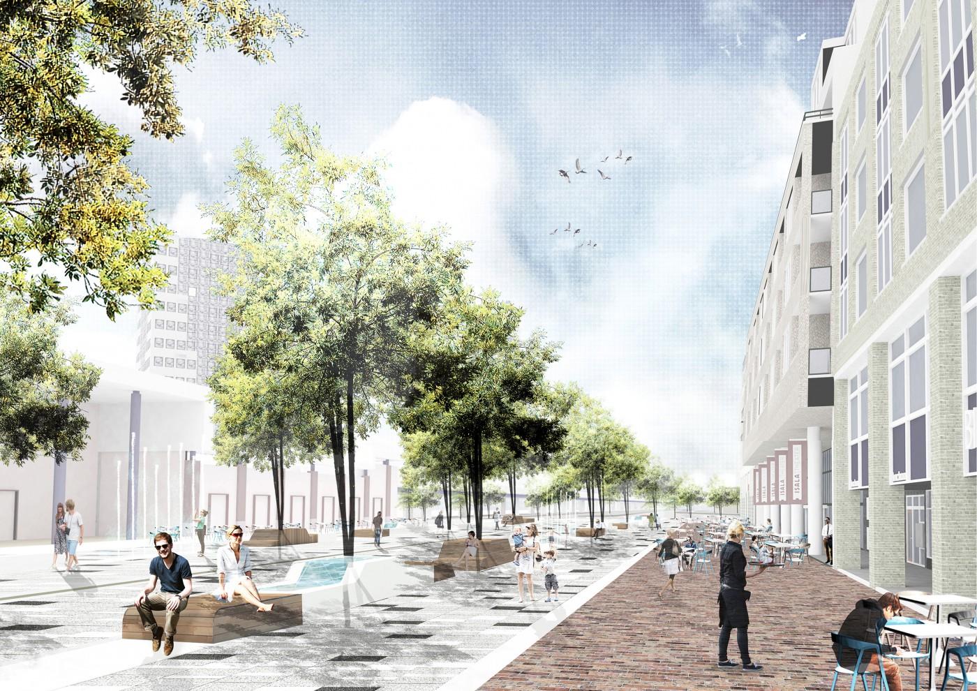 buro-sant-en-co-landschapsarchitectuur-stadsplein-capelle aan den ijssel-plein-herinrichting-groen-water-klimaatadaptief-schetsontwerp-model liniair-impressie-1