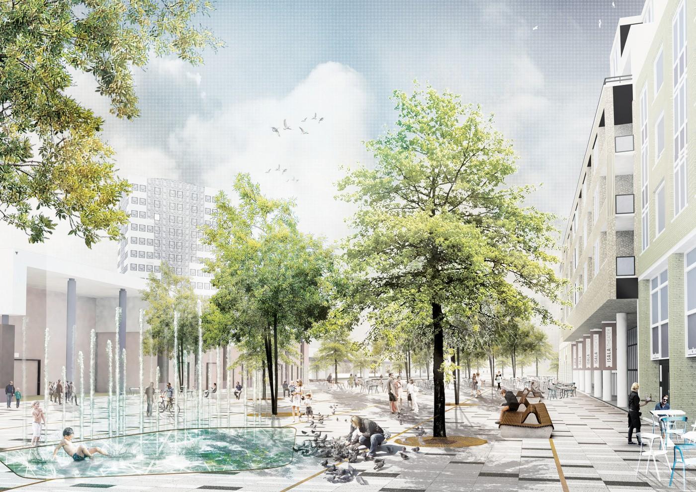 buro-sant-en-co-landschapsarchitectuur-stadsplein-capelle aan den ijssel-plein-herinrichting-groen-water-klimaatadaptief-schetsontwerp-model organisch-impressie-1