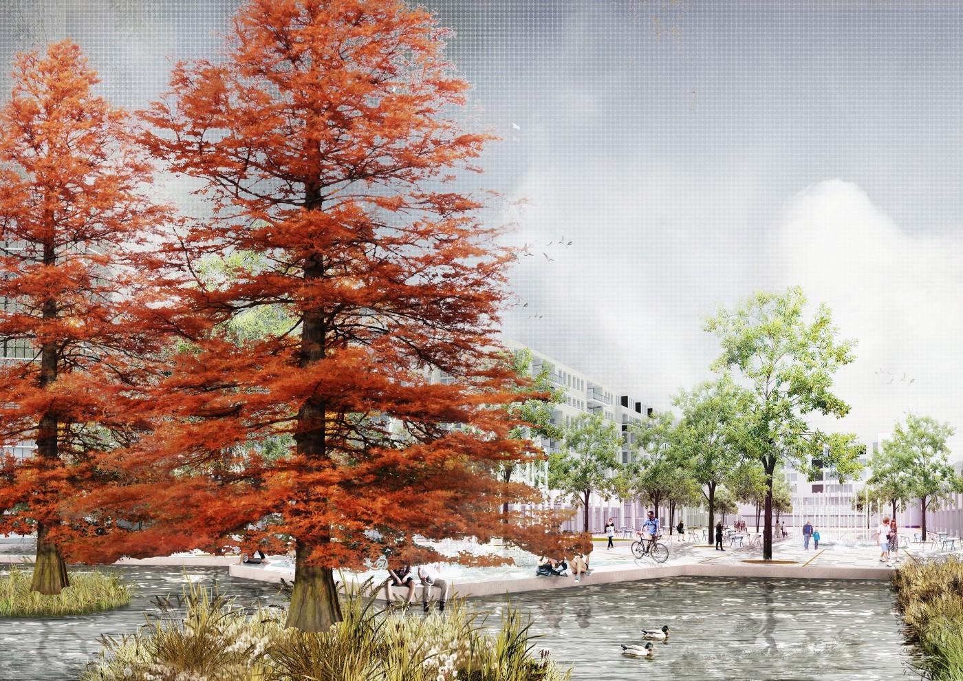 buro-sant-en-co-landschapsarchitectuur-stadsplein-capelle aan den ijssel-plein-herinrichting-groen-water-klimaatadaptief-schetsontwerp-model organisch-impressie-2
