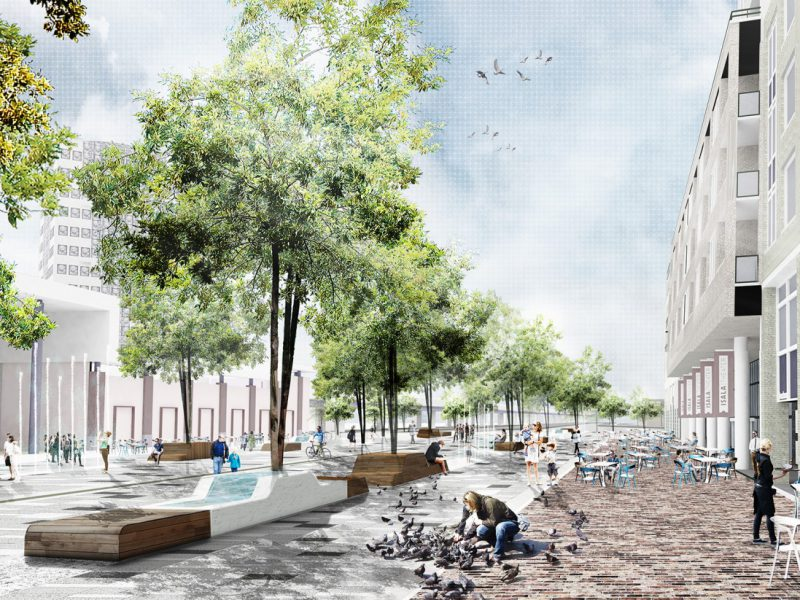 buro-sant-en-co-landschapsarchitectuur-stadsplein-capelle aan den ijssel-plein-herinrichting-groen-water-klimaatadaptief-schetsontwerp-model liniair-impressie-DEF-RS